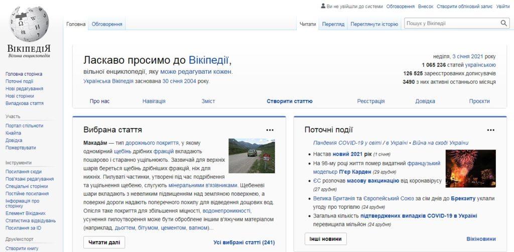 Торік на українську Вікіпедію зайшли на 148 млн разів більше ніж 2019-го